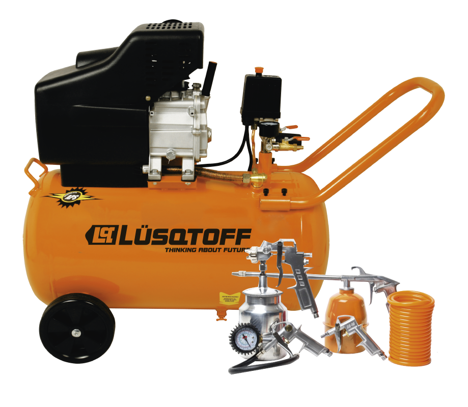 Compresor Lusqtoff 2,5HP-50L+Kit 5 Piezas