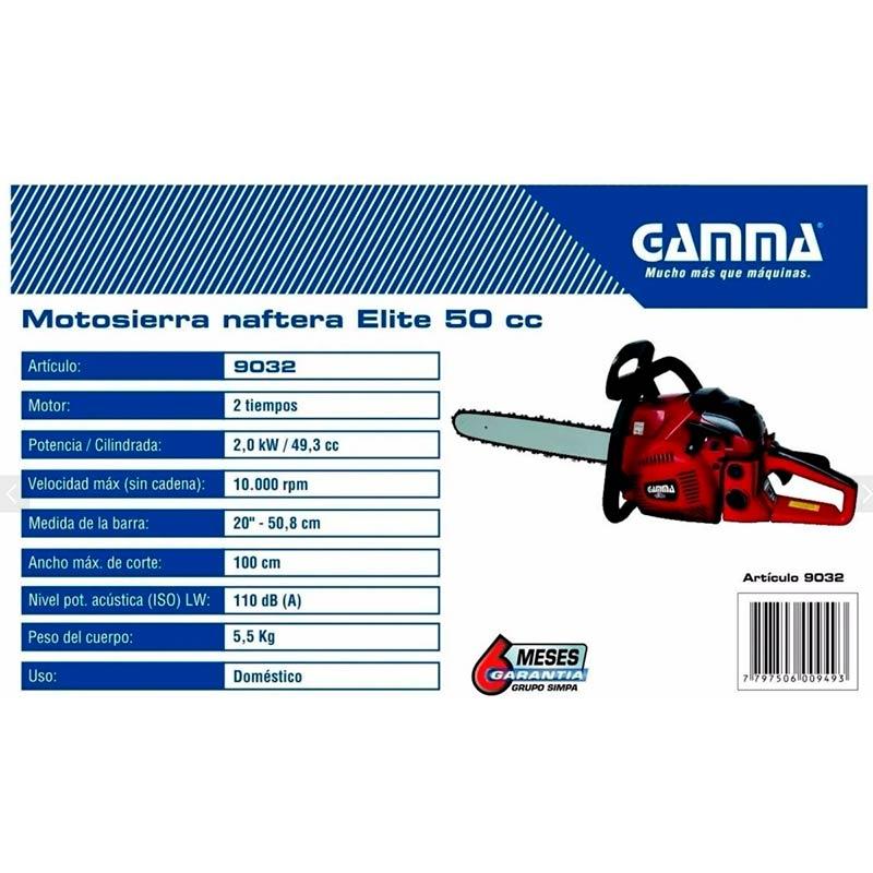 """Motosierra GAMMA ELITE 20"""" - 2,7HP - 50cc"""